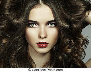 fason, portret, od, młody, piękna kobieta