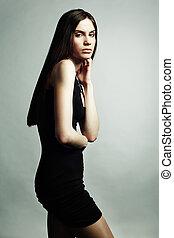 fason, portret, od, młody, piękny, elegancki, kobieta, w czarnoskórym, d