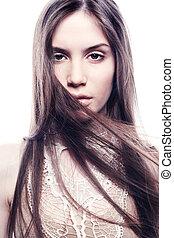 fason, portret, od, młody, piękny, elegancki, woman., szczelnie-do góry