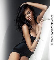 fason, portret, od, piękny, brunetka, kobieta