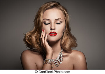 fason, portret, od, piękny, luksus, kobieta, z, biżuteria