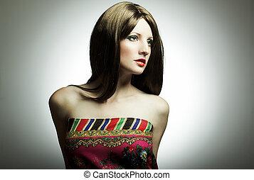 fason, portret, od, przedimek określony przed rzeczownikami, młoda kobieta, w, studio