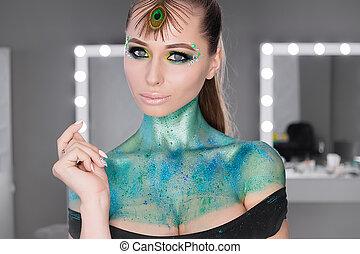fason, portret sztuki, .makeup