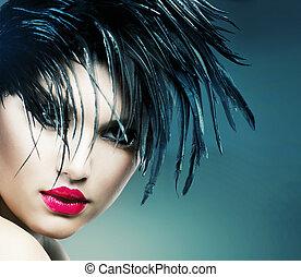 fason, portret sztuki, od, piękny, girl., moda, styl, kobieta