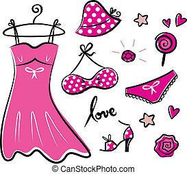 fason, retro, różowy, ikony, i, przybory, dla, romans, dziewczyna
