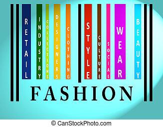 fason, słowo, barwny, barcode