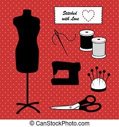 fason, stitched, miłość, szycie, polka, to, się, manekin, przybory, czerwone tło, kropka