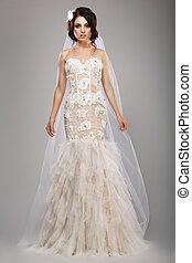 fason, strój, ślub, długi, panna młoda, szykowny, wzór, welon
