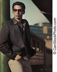 fason, styl, fotografia, od, na, przystojny, elegancki, człowiek