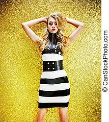 fason, styl, fotografia, od, niejaki, piękny, blond, dama