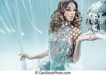 fason, styl, fotografia, od, piękny, blond, kobieta