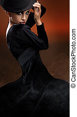 fason, styl, fotografia, od, taniec, dama