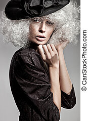fason, styl, portret, od, niejaki, piękna kobieta
