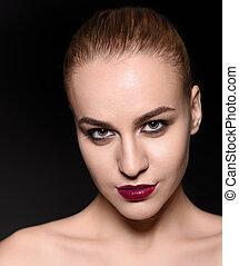 fason, szminka, piękno, makijaż, ciemny, kobieta, portrait., fiołek, szykowny, dziewczyna