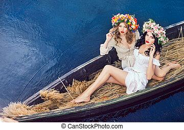 fason, sztuka, fotografia, od, niejaki, piękne dziewczyny, w, łódka
