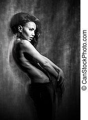 fason, sztuka, fotografia, od, niejaki, piękny, dziewczyna, w, mieszany, light., czarnoskóry i biały