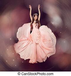 fason, sztuka, piękno, portrait., piękny, girl., wzór, kobieta, chodząc, długi, szyfon, strój