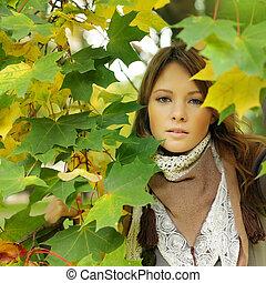 fason, szykowny, kobieta, jesień, portret