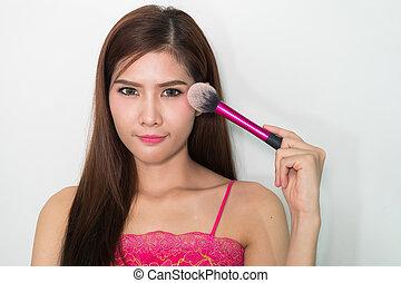 fason, twarzowy, twarz, piękny, zwracający się, makeup., tone., makijaż, brush., wzór, concept., dziewczyna, skóra, do góry, cielna, charakteryzacja, ustalać, face., proszek, closeup.