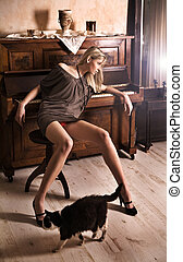 fason, typ, fotografia, od, na, pociągający, blond, piękno