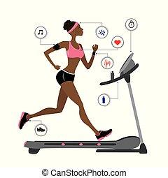 fason, wyścigi, amerykanka, afrykanin, dziewczyna, treadmill.