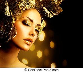 fason, złoty, makeup., blask, charakteryzacja, święto