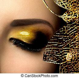 fason, złoty, makeup., blask, eyeshadows, święto, błyszcząc