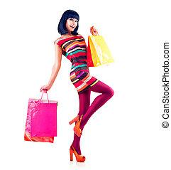 fason, zakupy, wzór, dziewczyna, pełny portret długości