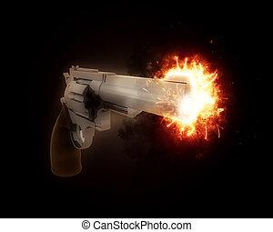 fass, explodieren, gewehr, 3d