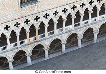 fassade, ducal, venedig, palast, oben