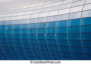 fassade, glasgebäude, geschaeftswelt