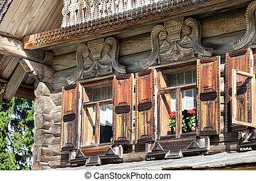 Fassade, Von, Traditionelle , Russische, Altes , Hölzernes Haus