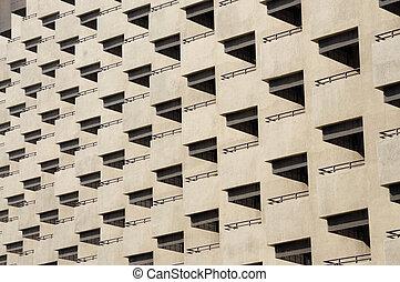 fassade, von, wohnhaeuser, gebäude, mit, balkons