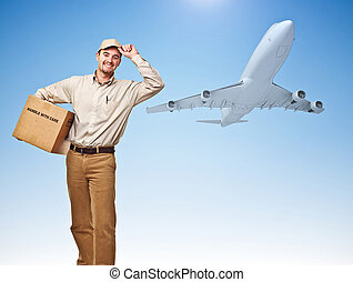 fast air delivery - smiling delivery man and cargo airplane