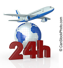 fast airplane transport service - the text: 24h with a world...