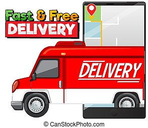 Fast and free delivery logo with delivery truck or van