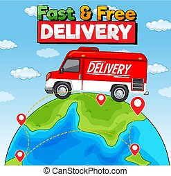 Fast and free delivery logo with delivery van or truck