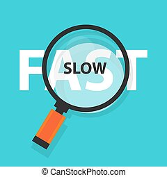 fast and slow concept business analysis magnifying glass symbol