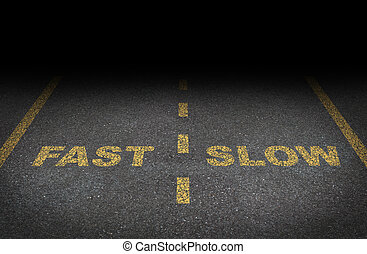 Fast and slow lanes as a business dilemma on how to proceed with a financial plan and strategy in terms of growing more conservative or aggressive growth as an asphalt road with yellow painted dividing lines.