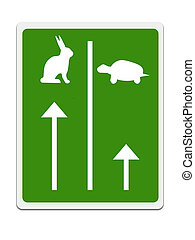 Fast and slow lanes for tortroise aka turtle and hare, Business success concept. White background.
