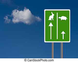 Fast and slow travel lanes for tortroise aka turtle and hare, Business success concept. Sky background with copyspace.