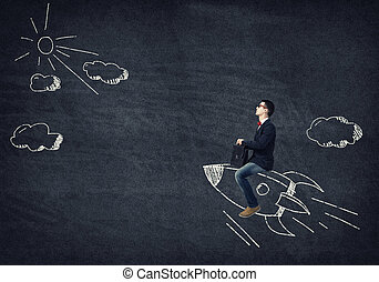Fast and speedy - Young businessman flying in sky on drawn...