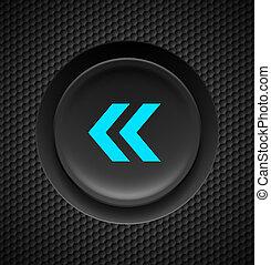 Fast backward button. - Black and blue fast backward button ...