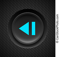 Fast backward button. - Black button with blue sign of fast ...