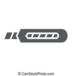fast, bakgrund., underteckna, mönster, verktyg, skrivpapper, ikon, vektor, kniv, boxcutter, grafik, vit, reparera, glyph