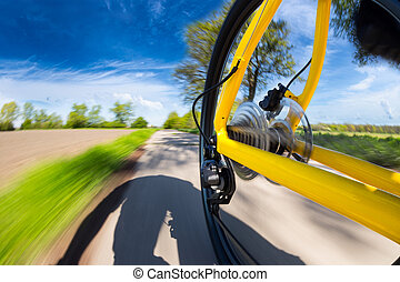 fast bicycle rear view