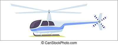 Fast Blue and Gray Helicopter on White Background