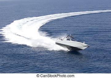 fast boat in mediterranean sea, aerial view