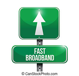 fast broadband road sign illustrations design over a white...