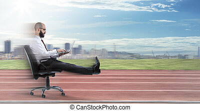 Fast business - businessman sitting